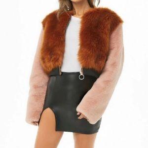 Forever21 Shaci Faux Fur Colorblock Jacket